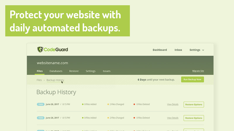 Protect your website with daily automated backups